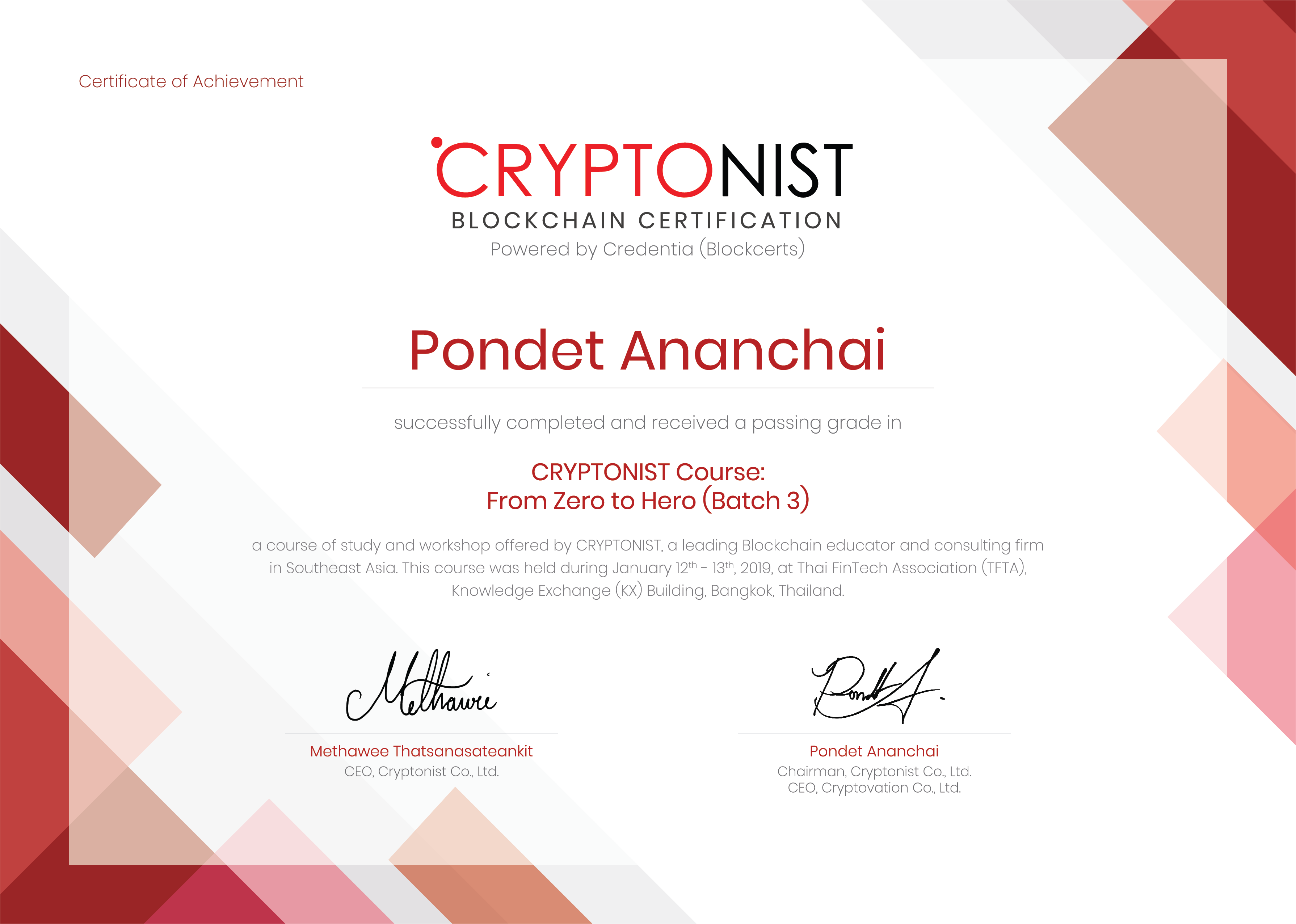 A sample blockchain certificate Credentia issued for Thai customers